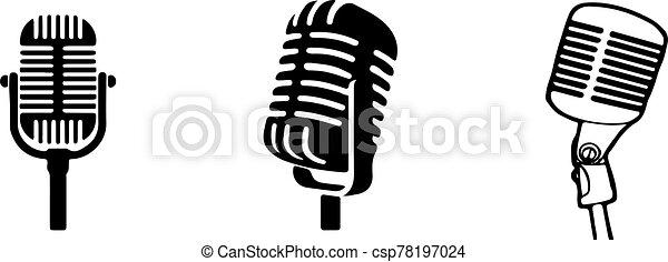 retro microphone icon isolated on background - csp78197024