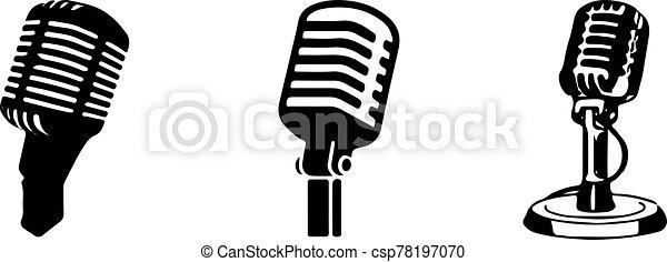 retro microphone icon isolated on background - csp78197070