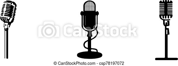 retro microphone icon isolated on background - csp78197072