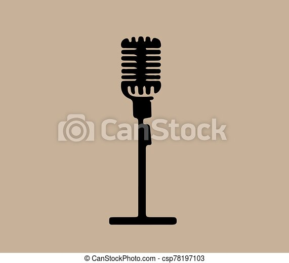 retro microphone icon isolated on background - csp78197103