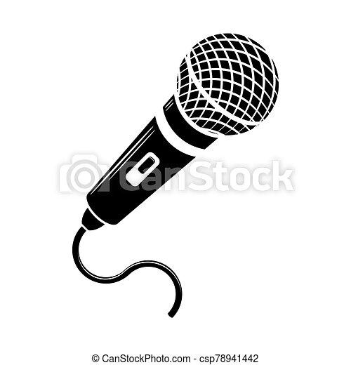 Retro Microphone Icon Isolated on White Background - csp78941442