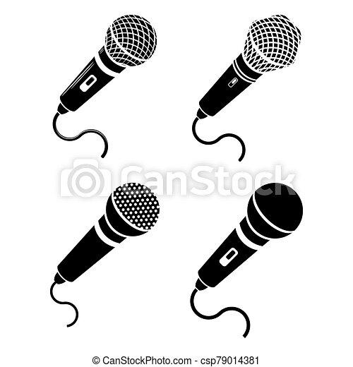 Retro Microphone Icon Isolated on White Background - csp79014381