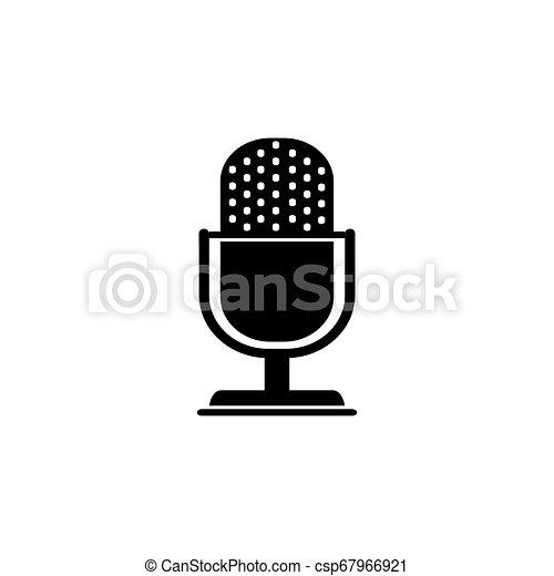 Retro microphone vector icon isolated on white - csp67966921