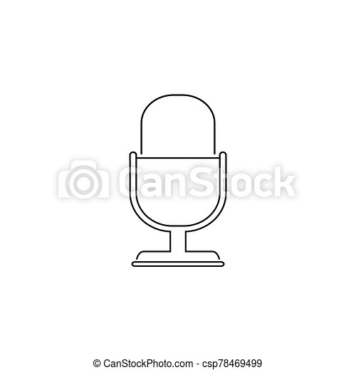 Retro microphone vector line icon isolated on white background - csp78469499