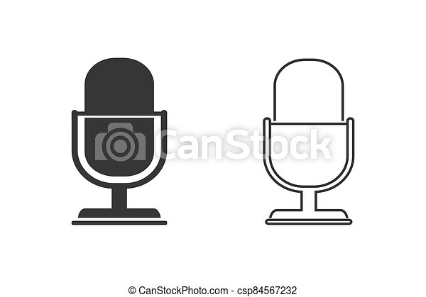 Retro microphone vector line icon set isolated on white background - csp84567232
