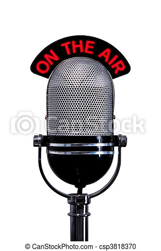 Retro microphone with On the Air sign cut out - csp3818370