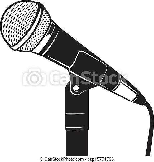 Microphone With Stand Drawing Retro microphone with ...