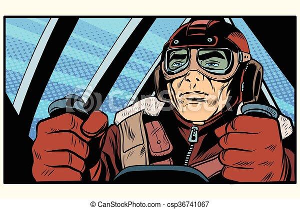 retro military Aviator pilot - csp36741067