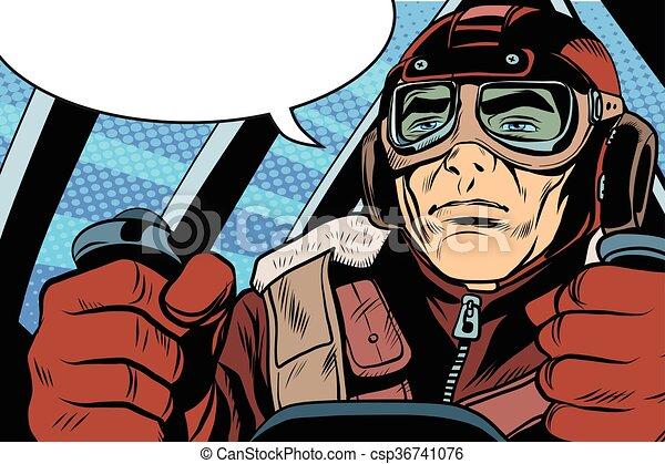 retro military Aviator pilot - csp36741076