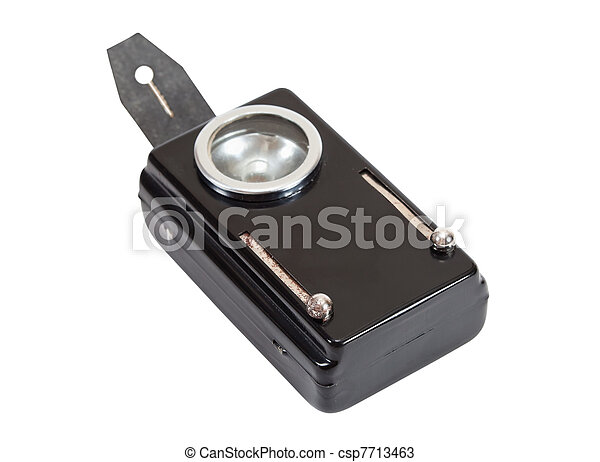 Retro military old flashlight on white background - csp7713463