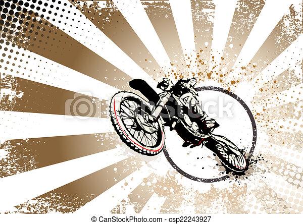 retro motocross poster background - csp22243927