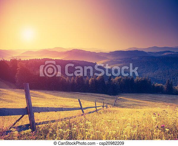 retro mountain landscape - csp20982209