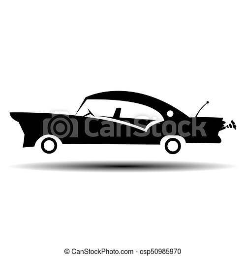 Retro muscle car vector illustration. Vintage poster of reto car. Old mobile isolated on white - csp50985970