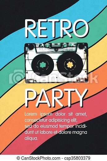 Retro Music Party Poster Design Disco Music Vintage Party