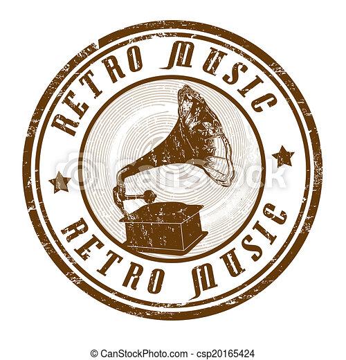 Retro Music Stamp Retro Music Grunge Rubber Stamp On White Vector