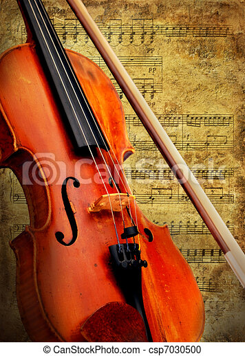 Retro musical  grunge violin background - csp7030500