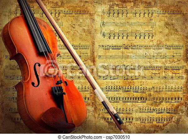 Retro musical  grunge violin background - csp7030510