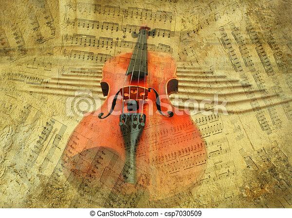 Retro musical  grunge violin background - csp7030509