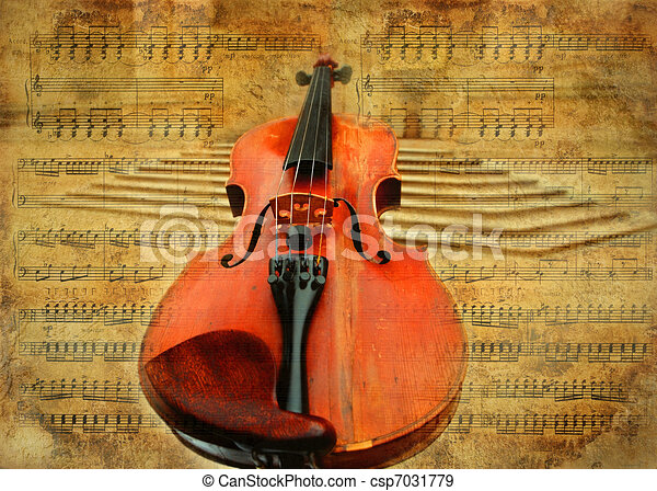 Retro musical  grunge violin background - csp7031779