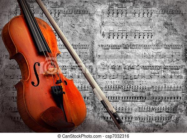 Retro musical  grunge violin background - csp7032316