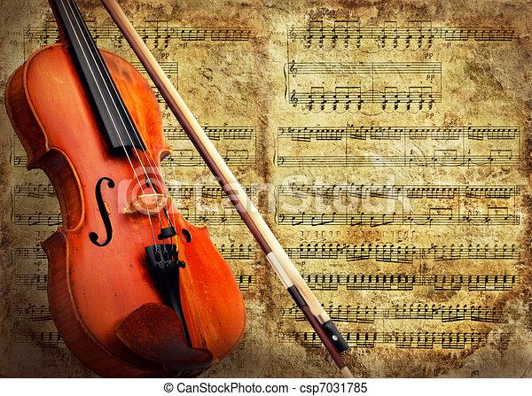 Retro musical grunge violin background - csp7031785
