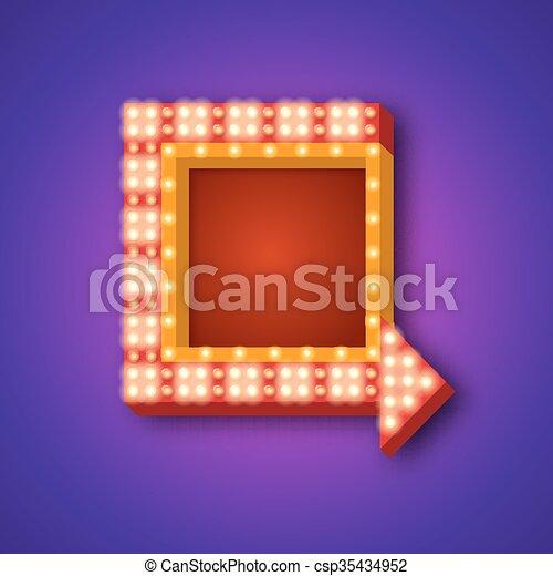 Retro neon sign with an arrow