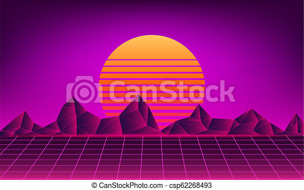 retro neon sun background - csp62268493