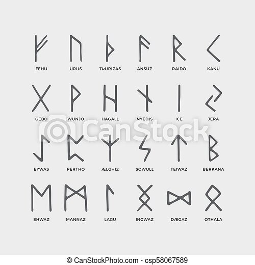 Retro Norse Scandinavian Runes Sketch Celtic Ancient Letters Old