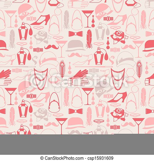 Retro of 1920s style seamless pattern. - csp15931609