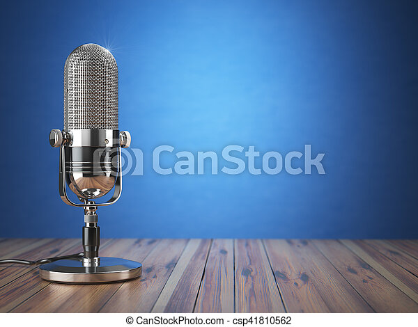 Retro old microphone. Radio show or audio podcast concept. Vintage microphone on blue background. - csp41810562