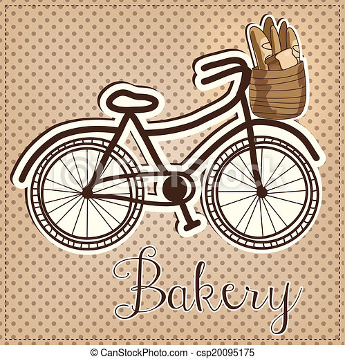 Retro or vintage bicycle with a basket full of bread - csp20095175