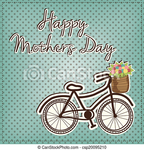 retro or vintage bicycle with a basket full of flowers - csp20095210