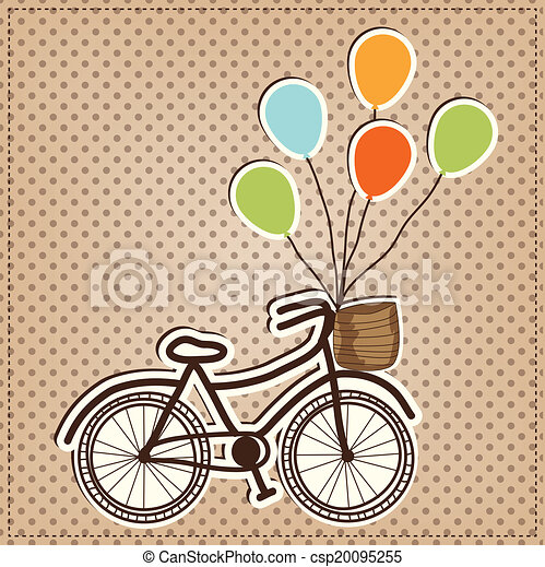 Retro or vintage bicycle with balloons - csp20095255