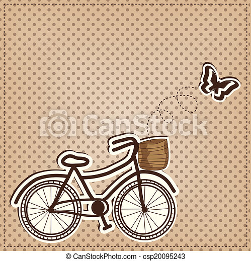 retro or vintage bicycle with butterfly  - csp20095243