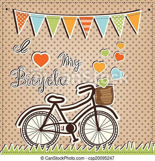 Retro or vintage bicycle with hearts - csp20095247