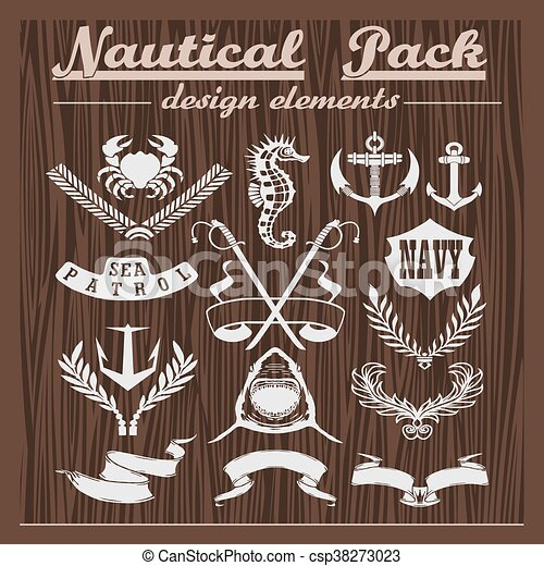 Retro pack of nautical elements, logos and badges on a wooden background - csp38273023