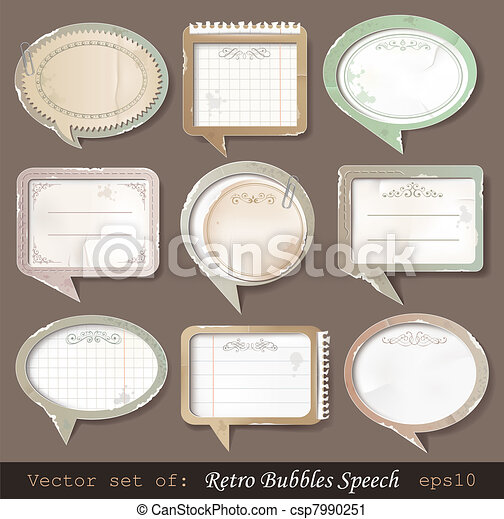 Retro paper bubbles speech - csp7990251