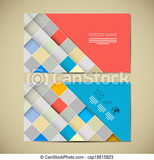 Retro Paper Business Card Template - csp18815823