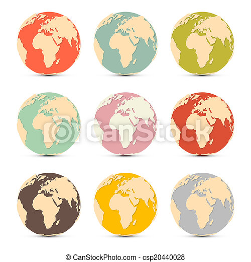 Retro Paper Vector Earth World Globe Map Icons - csp20440028