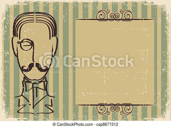 retro, papier, vieux, fond, face homme, mustache. - csp8671512