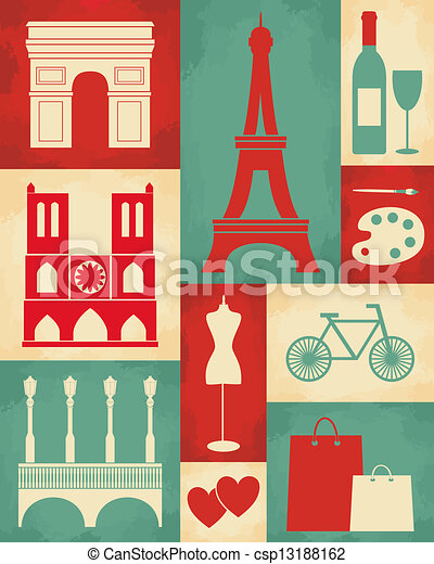 retro paris poster retro style poster with paris symbols and landmarks. Black Bedroom Furniture Sets. Home Design Ideas