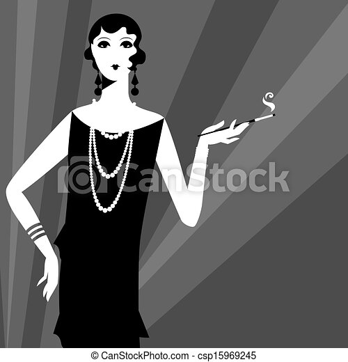 Retro party background with beautiful girl of 1920s style. - csp15969245