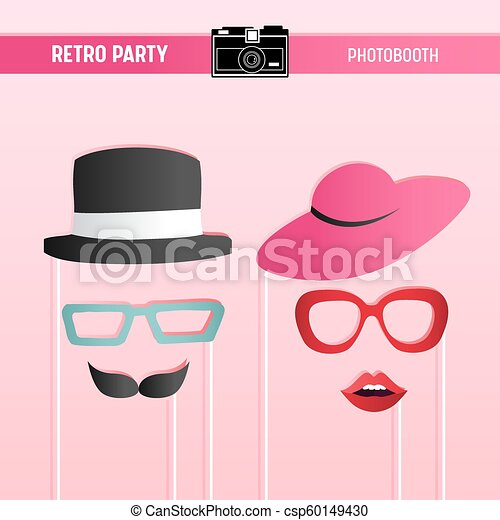 image regarding Printable Sunglasses titled Retro get together, bridal shower, marriage occasion, movember printable Gles, Hats, Lips, Moustaches, Masks for photobooth props within vector
