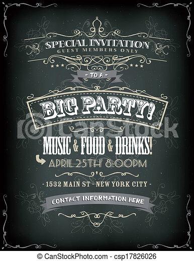 Retro party invitation on chalkboard illustration of a retro poster retro party invitation on chalkboard csp17826026 stopboris Images