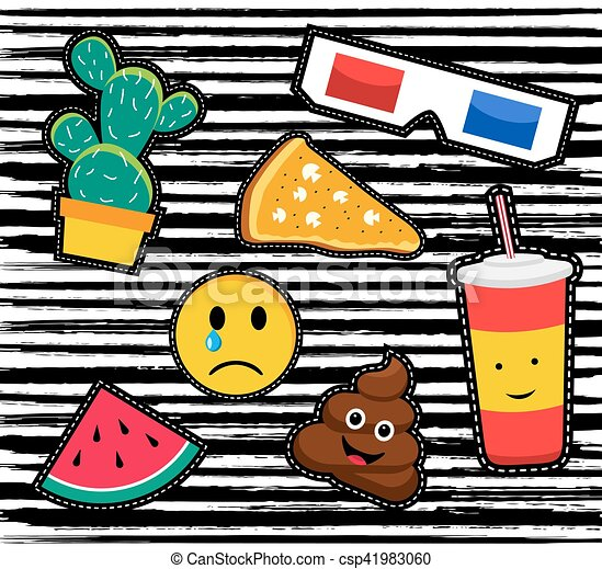 Retro Patch Icon Set In 80s Fashion Style Cute Set Of Cartoon Patch