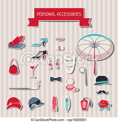 Retro personal accessories stickers of 1920s style. - csp15925801