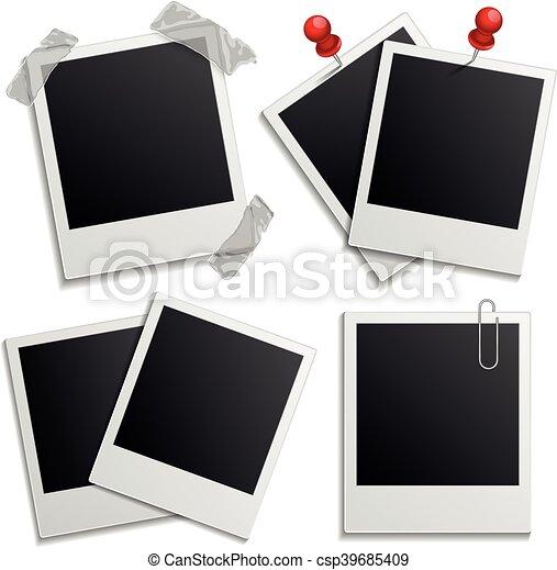 Retro photo frames on white. Retro holiday photo frame set isolated ...