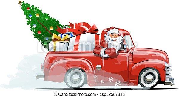 retro, pickup, natal, caricatura - csp52587318