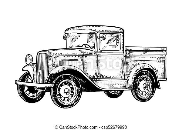 Retro Pickup Truck Side View Vintage Black Engraving