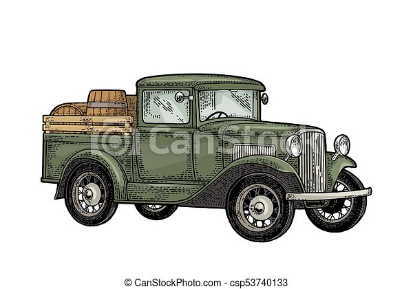 Retro Pickup Truck With Wood Barrel Side View Vintage Color Engraving